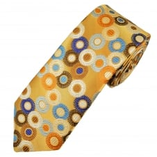 Van Buck Platinum Gold & Multi Coloured Circle Pattern Silk Designer Tie - Limited Edition