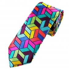Van Buck Platinum Green, Yellow, Turquoise, Blue, Red & Pink Patterned Silk Designer Tie - Limited Edition