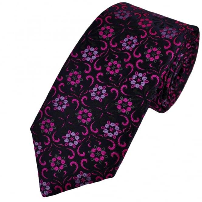 b1b38accc53f van buck platinum navy blue flower patterned silk designer tie limited  edition from .
