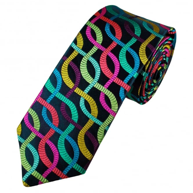 Van Buck Platinum Navy Blue, Green, Pink, Red, Gold, Royal Blue Wavy Stripes Patterned Silk Designer Tie - Limited Edition