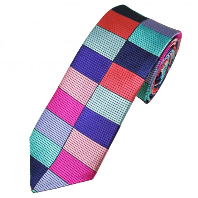 Van Buck Platinum Navy Blue, Lilac, Pink, Turquoise, Red & Silver Rectangle Patterned Silk Designer Tie - Limited Edition