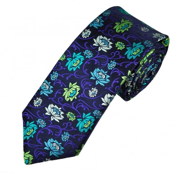 Van Buck Platinum Navy Blue, Lime, Green, Blue, Silver & Purple Floral Patterned Silk Designer Tie - Limited Edition
