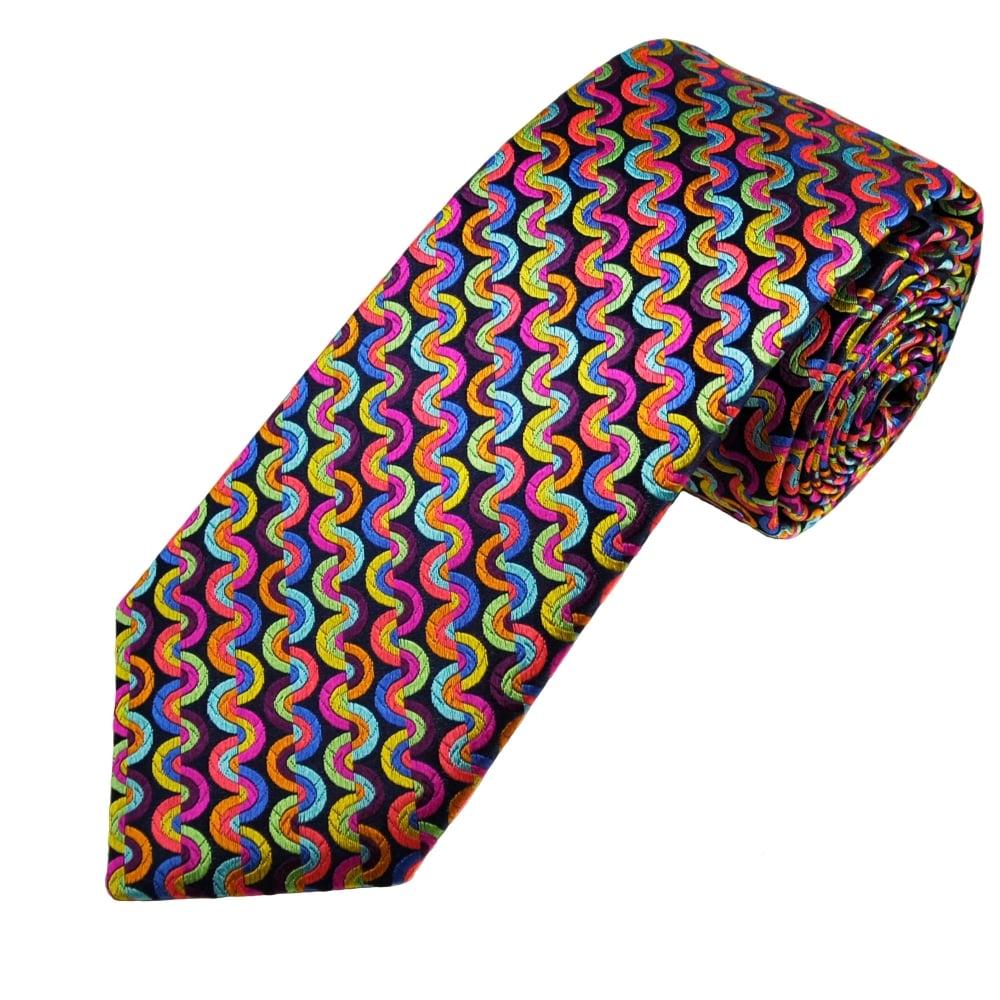 1a0ba0825947 Van Buck Platinum Navy Blue & Multi Coloured Patterned Silk Designer Tie -  Limited Edition from Ties Planet UK