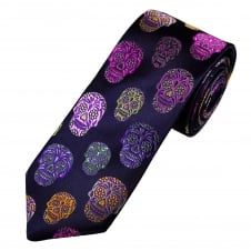 Van Buck Platinum Navy Blue & Multi Coloured Skulls Silk Designer Tie - Limited Edition