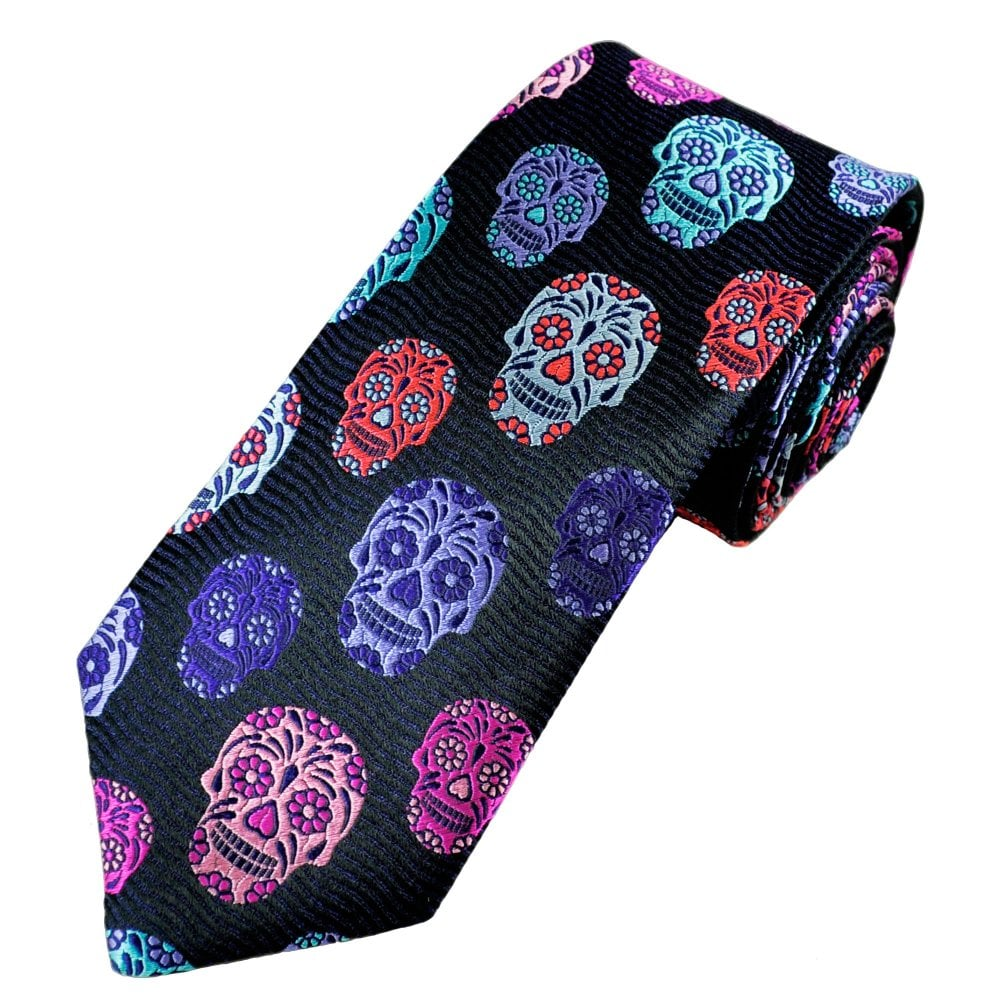 6f610117bb2a Van Buck Platinum Navy Blue, Purple, Turquoise, Pink, Red & Grey Skull Silk  Designer Tie - Limited Edition from Ties Planet UK
