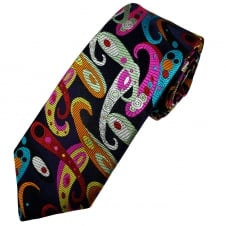 Van Buck Platinum Navy Blue, Red, Orange, Black, Sage Green, Silver & Aqua Blue Paisley Patterned Silk Designer Tie - Limited Edition