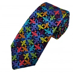 Van Buck Platinum Navy Blue, Red, orange, Yellow & Purple Fleur de Lis Patterned Silk Designer Tie - Limited Edition