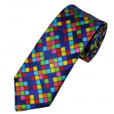 Van Buck Platinum Navy Blue, Red, Pink, Orange Yellow & Green Square Patterned Silk Designer Tie - Limited Edition