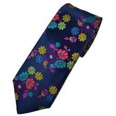 Van Buck Platinum Navy Blue, Red, Turquoise, Golden Yellow & Fuchsia Pink Flower Patterned Silk Designer Tie - Limited Edition
