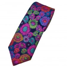 Van Buck Platinum Navy Blue, Red, Yellow, Green Fuchsia Pink Flower Patterned Silk Designer Tie - Limited Edition