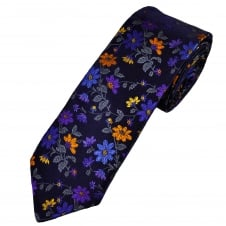 Van Buck Platinum Navy Blue, Royal Blue, Grey, Purple & Orange Flower Patterned Silk Designer Tie - Limited Edition