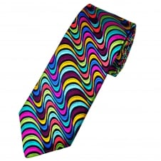 Van Buck Platinum Navy Blue With Green, Gold, Red, Pink & Blue Swirl Stripes Patterned Silk Designer Tie - Limited Edition