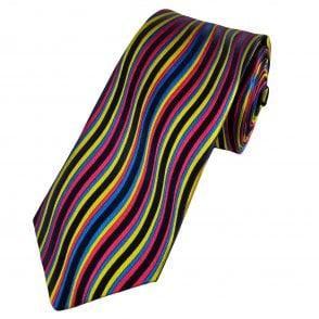 aaf4938aa040 Van Buck Platinum Navy Blue, Yellow, Fuchsia Pink & Royal Blue Wave  Patterned Silk