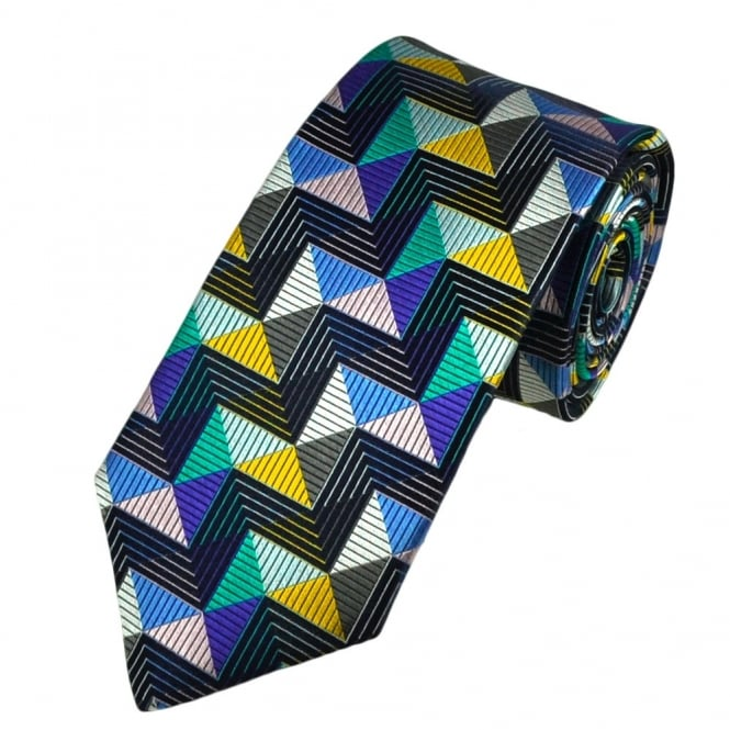 Van Buck Platinum Navy Blue Zig Zag Striped Silk Designer Tie - Limited Edition