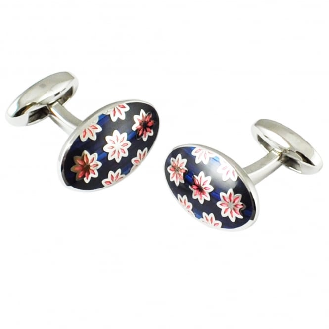 Van Buck Platinum Navy & Pink Flower Oval Designer Cufflinks