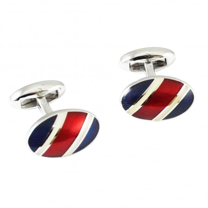 Van Buck Platinum Navy, Red & White Striped Oval Designer Cufflinks