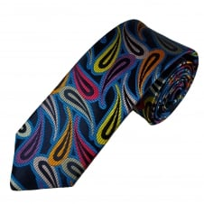 Van Buck Platinum Navy, Royal Blue, Orange, Yellow, Silver, Purple & Coral Pink Paisley Patterned Silk Designer Tie - Limited Edition