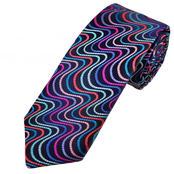 Van Buck Platinum Navy with Silver, Blue, Pink, Purple & Red Swirl Stripes Patterned Silk Designer Tie - Limited Edition