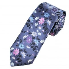 Van Buck Platinum Pastel Purple Flower Patterned Silk Designer Tie - Limited Edition