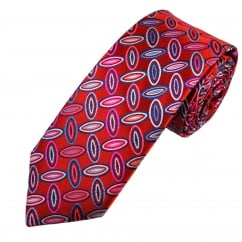 Van Buck Platinum Red, Blue, Pink & Purple Oval Patterned Silk Designer Tie - Limited Edition