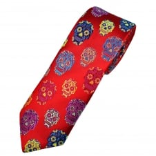 Van Buck Platinum Red & Multi Coloured Skulls Silk Designer Tie - Limited Edition