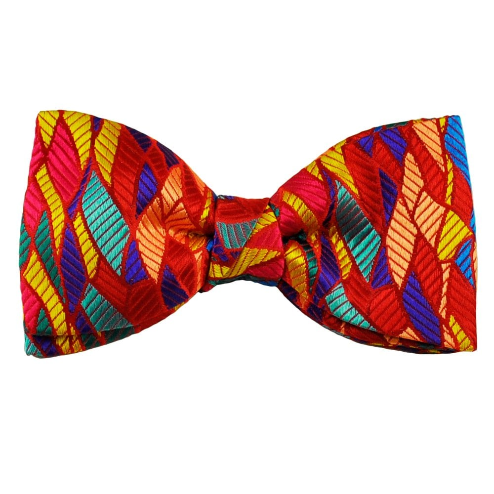 037906e10fbe Van Buck Platinum Red, Orange, Yellow, Royal Blue & Aqua Blue Patterned  Men's Silk Designer Bow Tie from Ties Planet UK