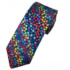 Van Buck Platinum Shades Of Blue, Pink, Green, Orange & Purple Circles Silk Designer Tie - Limited Edition