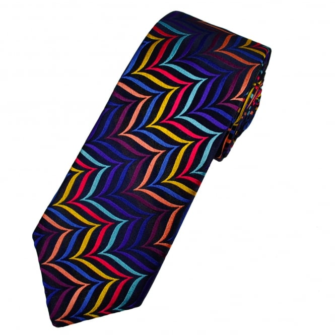 Van Buck Platinum Shades Of Blue, Purple, Pink & Yellow Patterned Silk Designer Tie - Limited Edition