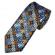 Van Buck Platinum Shades Of Blue, Silver & Brown Patterned Silk Designer Tie - Limited Edition