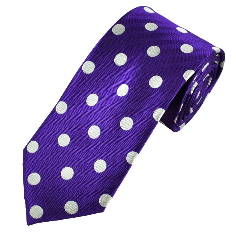 a5305dfb83b1 Van Buck Purple & Silver Bold Polka Dot Silk Tie from Ties Planet UK