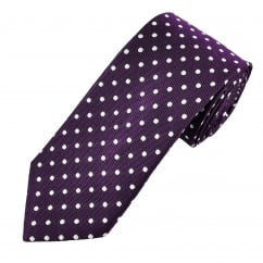 Van Buck Purple & Silver Polka Dot Silk Men's Tie
