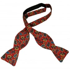 Van Buck Red, Blue, Green & Gold Paisley Silk Designer Self Tie Bow Tie