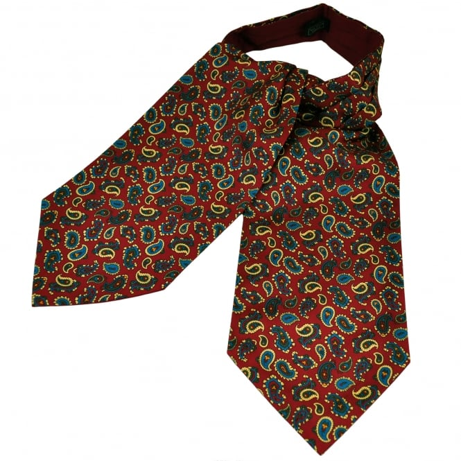 Van Buck Red, Blue, Green & Yellow Paisley Patterned Silk Day Cravat