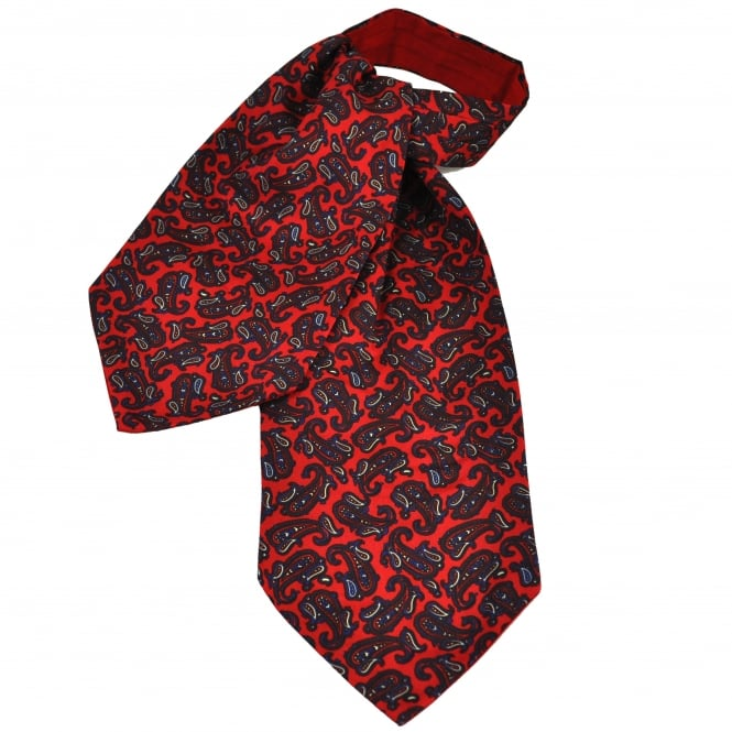 Van Buck Red, Claret, Blue & Pale Yellow Paisley Patterned Silk Day Cravat