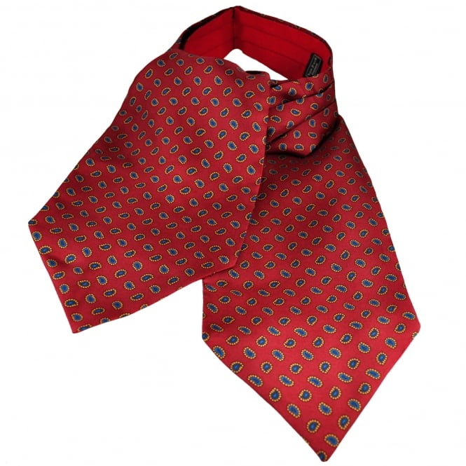 Van Buck Red, Gold & Blue Paisley Patterned Silk Day Cravat