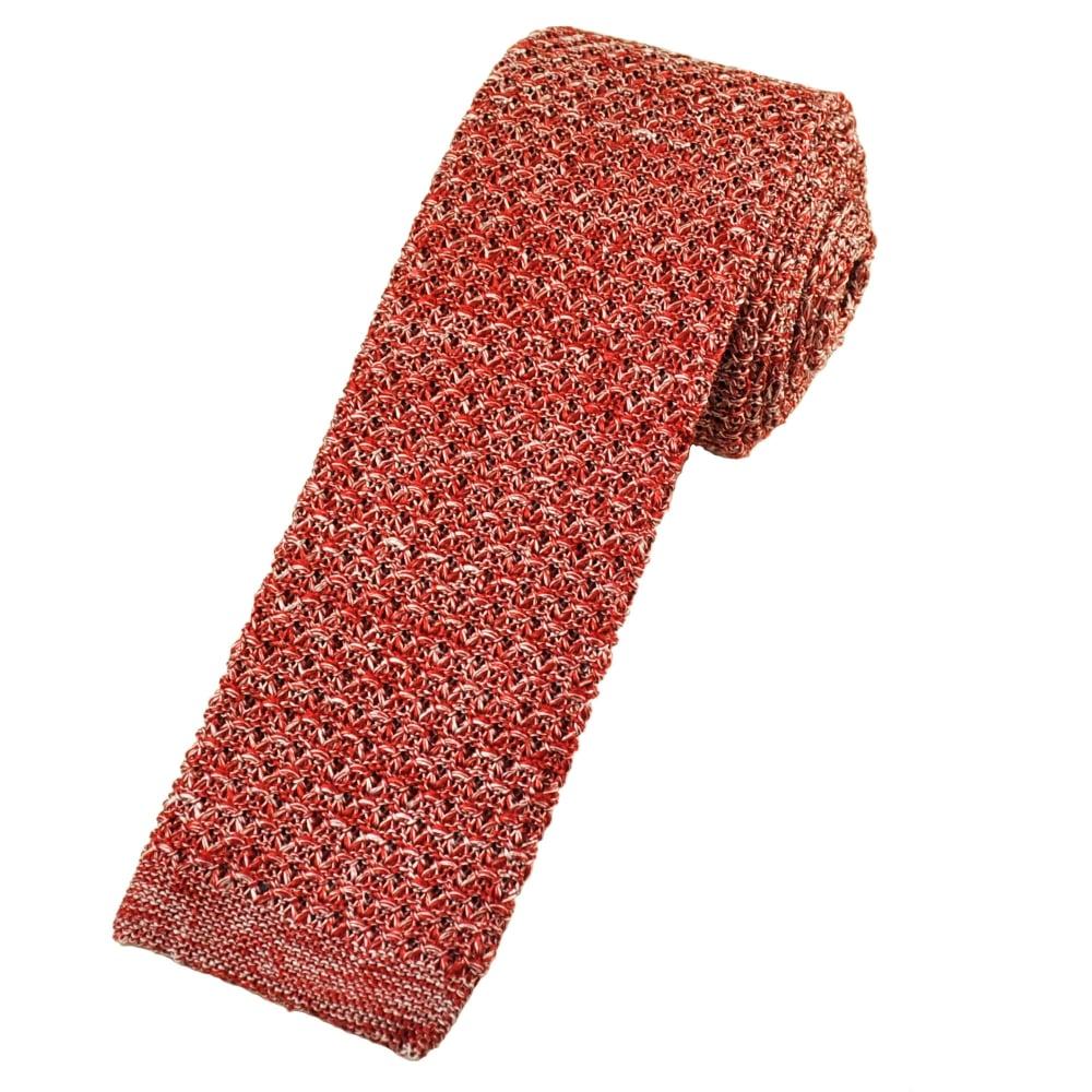 Van Buck Red Marl Pattern Designer Silk Knitted Tie from Ties Planet UK