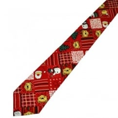 Van Buck Red Patchwork Novelty Designer Christmas Tie
