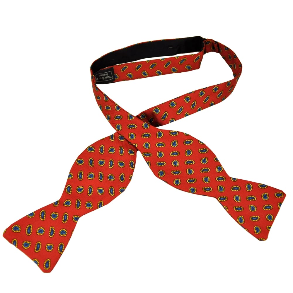 7a29cd99c61d ... Tie Bow From Ties Pla. Van Buck Red Royal Blue Navy Gold Small Paisley  Silk