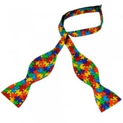 Van Buck Red, Yellow, Blue, Orange & Green Jigsaw Novelty Self Tie Bow Tie