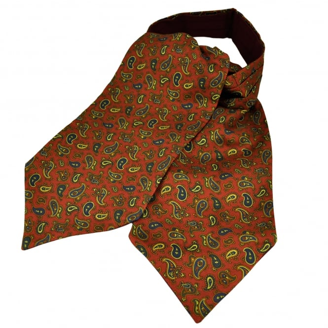 Van Buck Rust Red, Blue, Green, Orange & Yellow Paisley Patterned Silk Day Cravat