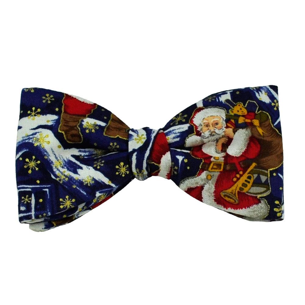 Ties planet van buck santa claus blue christmas novelty bow tie