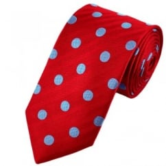 Van Buck Scarlet Red & Light Blue Bold Polka Dot Silk Tie