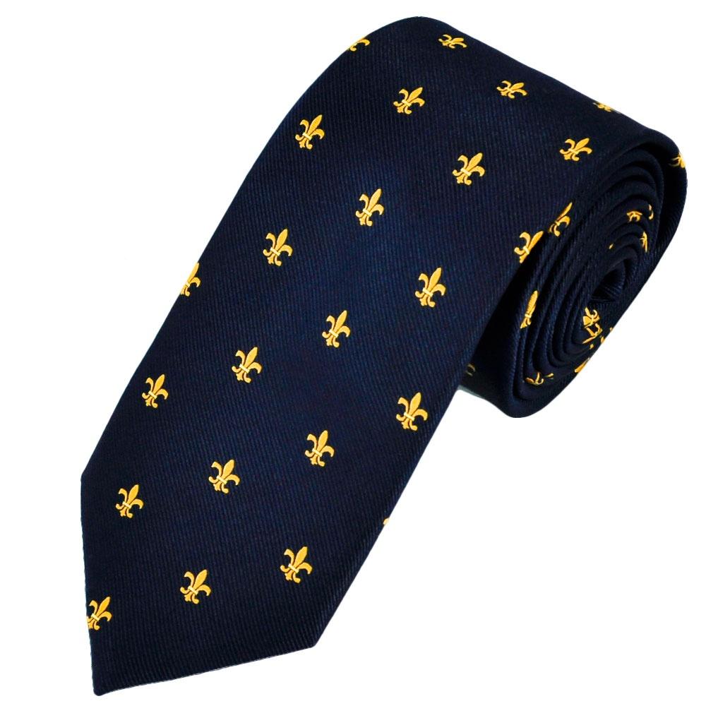 Van Buck Soho Navy Blue Yellow Fleur De Lis Emblem Silk Designer Tie From Ties Planet UK