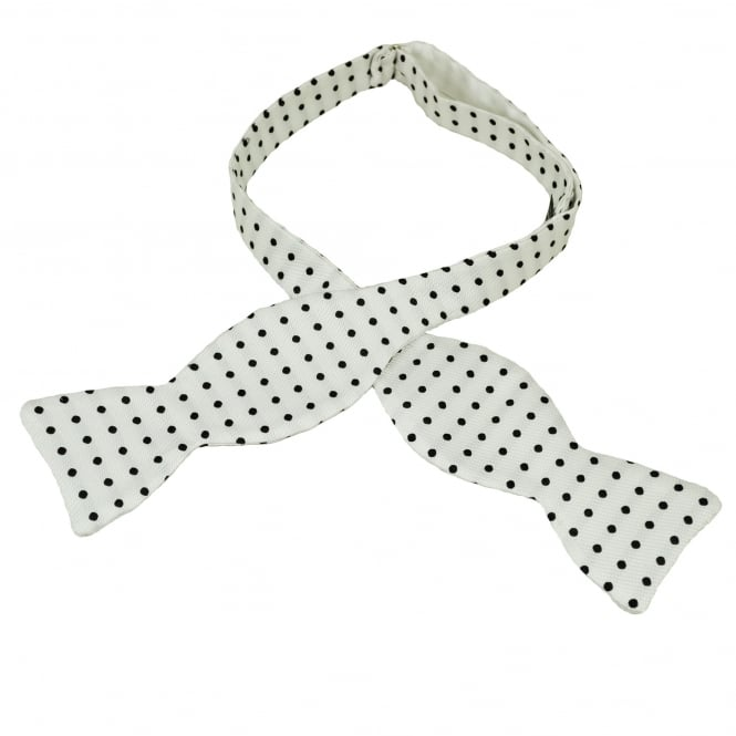 Van Buck White & Black Polka Dot Silk Self Tie Bow Tie