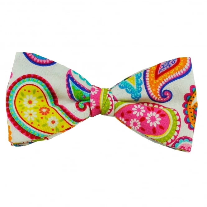 Van Buck White & Multi Coloured Paisley Patterned Novelty Bow Tie
