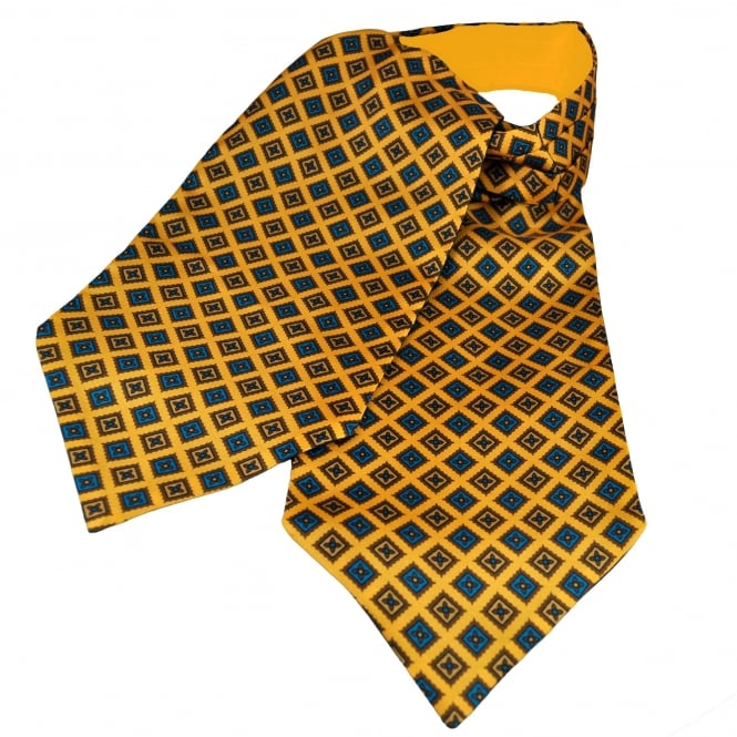 Van Buck Yellow, Blue & Brown Square Patterned Silk Day Cravat