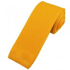 Vidoni Plain Sunflower Yellow Silk Designer Knitted Tie