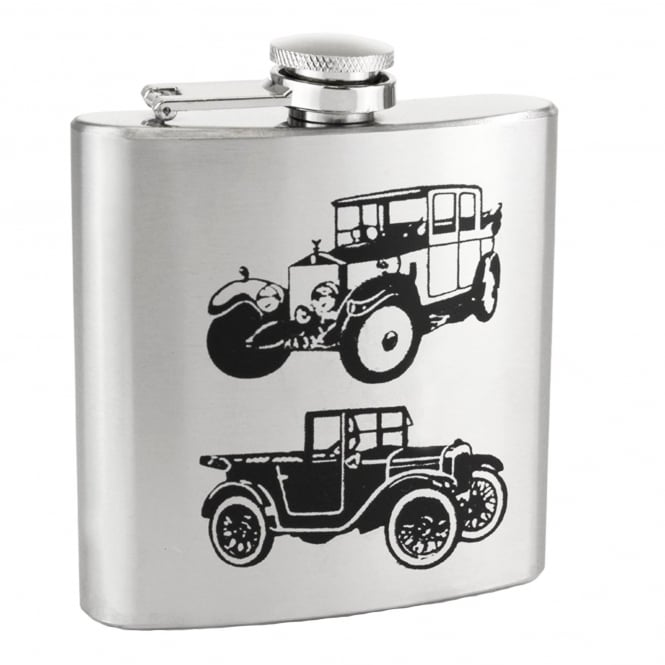 Vintage Car 6oz Stainless Steel Hip Flask