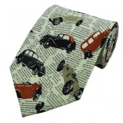 Vintage Cars on Newsprint Novelty Tie