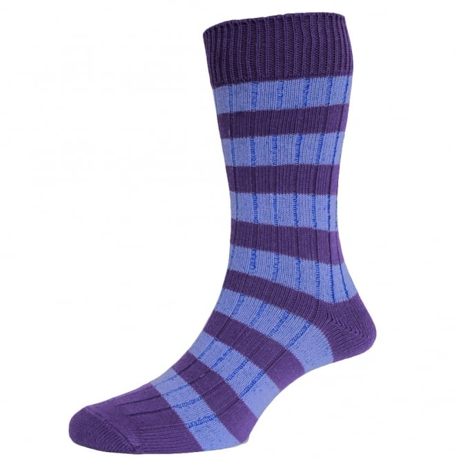 Violet & Cornflower Striped Men's Socks by HJ Hall